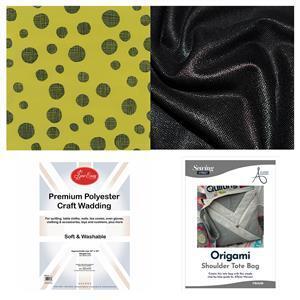 Allison Maryon's Black Folded Bag Kit: Instructions, Fabric (2m) & Wadding