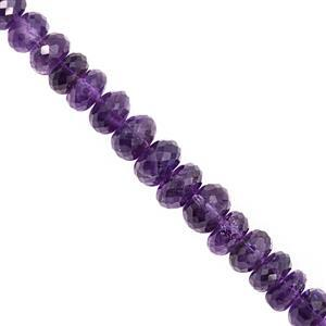 105cts Zambian Amethyst Graduated Faceted Rondelles Approx 8x4 to 10x7mm, 20cm Strand with Spacers
