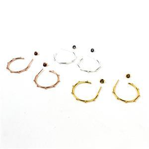 925 Sterling Silver, Rose & Gold Plated Beaded Hoop Earrings with Butterfly backs