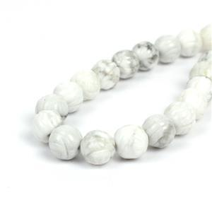 240cts Howlite Carved Rose Flower Rounds Approx 10mm, 38cm strand