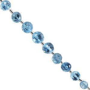 25cts Swiss Blue Topaz Top Side Drill Faceted Onion Approx 4x4 to 8x7mm, 10cm Strand with Spacers