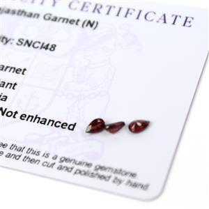 0.65cts Rajasthan Garnet 5x3mm Pear Pack of 3 (N)