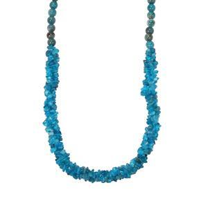 Neon Apatite Nugget Bead with Magnetic Claps Necklace in Sterling Silver 190cts