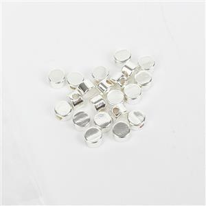 Silver Plated Base Metal Circle Spacer Beads, Approx. 4mm (20pk)