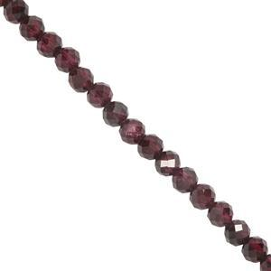 64cts Garnet Faceted Round Seed Beads Approx 3.7mm 39mm Strand