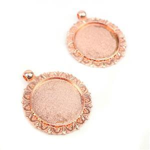 Rose Gold Colour Flowery Oval Bezel Pendant Approx 35mm (Set of 2)