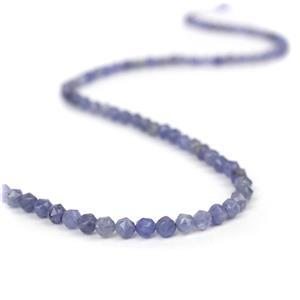 40cts Tanzanite Star Cut Rounds Approx 4mm, 38cm Strand