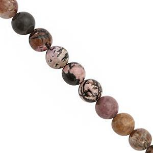 270cts Rhodonite Smooth Round Approx 10mm, 30cm Strand