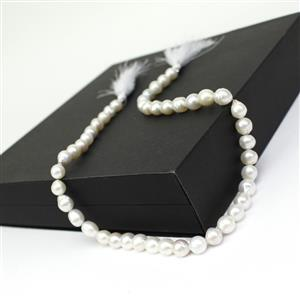 White South Sea Cultured Baroque Pearls Approx 8-9mm, Approx 40cm Strand Plus Sienna Box.