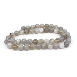 150cts Natural Grey Agate Plain Rounds Approx 8mm, 38cm