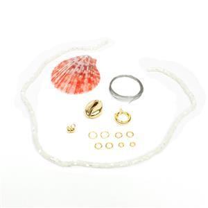 White Shell & Gold Plated 925 Sterling Silver Necklace Kit
