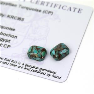 5cts Egyptian Turquoise 10x8mm Octagon Pack of 2 (CP)