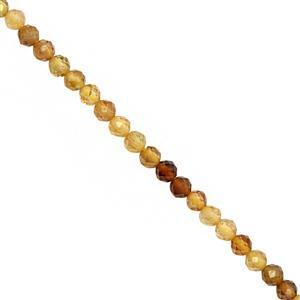15cts Yellow Tourmaline Faceted Round Approx 3mm, 28cm Strand