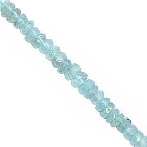 62cts Aquamarine Graduated Faceted Rondelles Approx 3.5x1 to 5.5x3mm, 30cm Strand