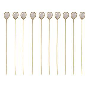 Gold Plated 925 Sterling Silver Head Pins With 4x3mm Pear Rose Quartz - 40mm, Width 0.5mm - (10pcs)