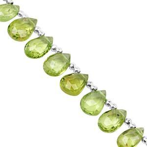 32cts Kashmir Peridot Top Side Drill Faceted Pear Approx 5.5x3.5 to 9x6mm, 19cm Strand with Spacers
