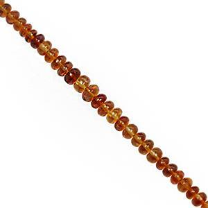 25cts Madeira Citrine Smooth Rondelles Approx 3.5x2 to 5.5x2mm, 17cm Strand