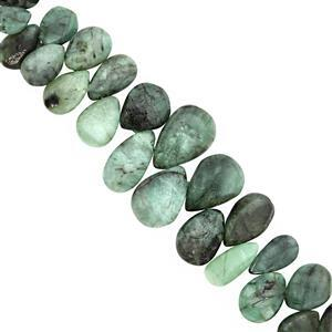 95cts Emerald Top Side Drill Graduated Plain Pear Approx 8x6 to 11x9mm, 17cm Strand with Spacers