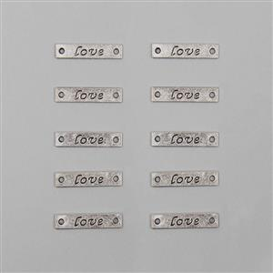 Love - Silver Plated Alloy Metal Connector Charms Approx 25x5mm (10 pcs)