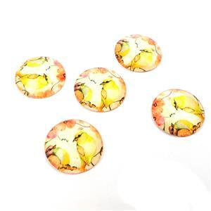 Vintage Bird Print Glass Cabochons, Approx 25mm (5pcs/pack)