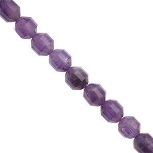 """233cts Amethyst Faceted Drum Approx 8x10mm Beads Necklace with Lobster Lock & Extension -18""""+2""""Length"""