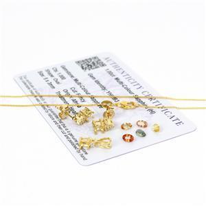 Multi-colur Sapphire Earrings & Pendant, Inc; 5x 5x3 Ovals, Mounts & Chain.