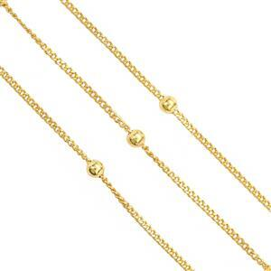 """18"""" Gold Plated Base Metal Beaded Curb Chain, 1mm (3pcs/pk)"""
