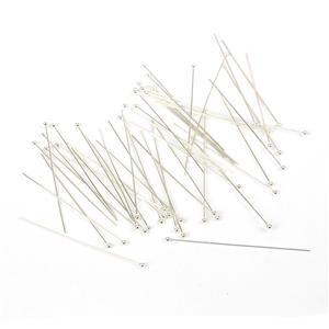 925 Sterling Silver Ball Head Pins - 50mm 22 Gauge/0.64mm - (50pcs)