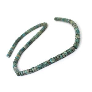 100cts Dyed Green Quartzite & Pyrite Heshi Beads Approx 6x3mm,  38cm strand