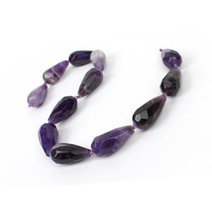"505cts Banded Amethyst Faceted Drops Approx 30x15mm 15"" Strand"