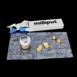 White Mist; white Shell, Gold Base Metal, Milliput & Mica Powder