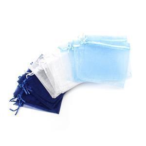 30pc Organza Bag Bundle Approx 10x12mm (10pc White, 10pc Navy, 10pc Light Blue)