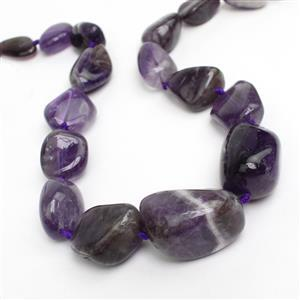 521cts Banded Amethyst Graduated Plain Nuggets Loose Beads Strand 15x20-20x35mm 17pcs