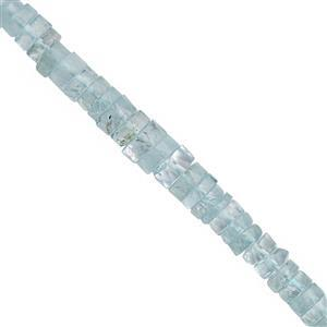70cts Aquamarine Graduated Faceted Wheel Approx 2.5x1 to 6.5x2.5mm, 34cm Strand
