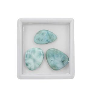 72cts Larimar Smooth Cabochon Mix Shapes Approx 19x16 to 30x20mm, (Pack of 3)