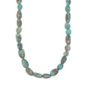 110ct Lhasa Turquoise Sterling Silver Bead Necklace