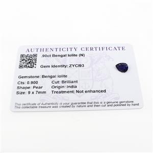 0.9cts Bengal Iolite 9x7mm Pear  (N)
