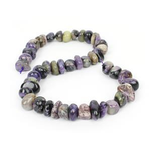 450cts Charoite Centre Drilled Small Tumbled Stones Approx 6x9 - 8x15mm, 38cm strand