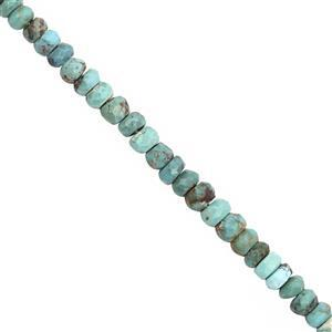 CLOSE OUT DEAL! -25cts Sleeping Beauty Turquoise Graduated Faceted Rondelle Approx 3x1.5 to 4x3mm, 20cm Strand