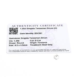 1.25cts Singida Tanzanian Zircon 6.5x6.5mm D Cut  (H)