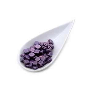 Czech Rhombus Beads- Chalk White Lila Vega Luster, 8x10mm (50pcs)