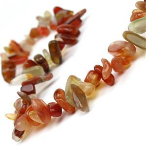 340cts Carnelian Long Chips Approx 5x8-6x22mm, 38cm Strand