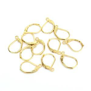 Gold Plated Base Metal Lever Back Earrings (6 pairs)