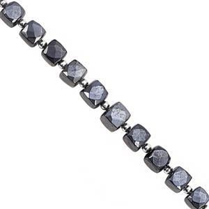 112cts Diamond Colour Coated Black Spinel Faceted Cubes Approx 6 to 8mm, 21cm Strand with Spacers