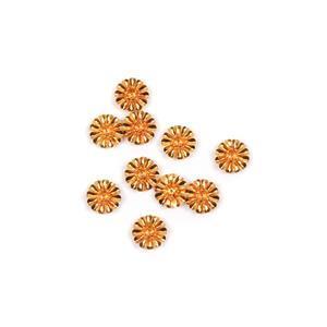Golden Brass Bead Caps Approx 14mm 10pk