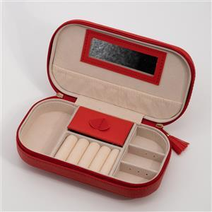 Red Travel Size Jewellery Box Approx 17.5x9.5x5cm