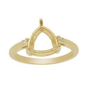 Gold Plated 925 Sterling Silver Trillion Ring Mount (To fit 9mm gemstone) Inc. 0.03cts White Zircon Brilliant Cut Rounds 1.25mm- 1 pcs