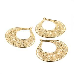 Italian Gold Plated Base Metal Large Filigree Drop Approx. 64X62mm (3pc)