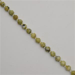 120cts Yellow Serpentine Faceted Satellite Beads Approx 8x7mm, 38cm
