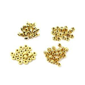 Gold Plated 925 Sterling Silver Spacer Beads - 4 Designs, Approx 4mm (100pcs)